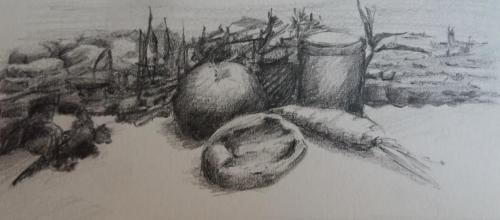 Landschappelijk stilleven, potlood op papier, juni 2020, 13 x 10, n.t.k.