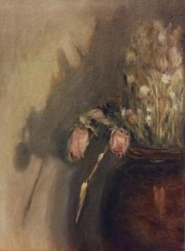 Droogbloemen voor de schaduw. Olieverf op karton. 30x40. Januri 2019, n.t.k.