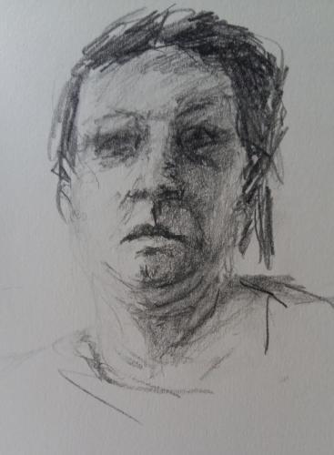 Vrouw met aandacht, potlood met grafiet, 15 x 20 cm, 2020, n.t.k.