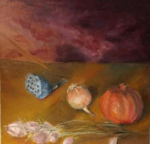 Landschappelijk stilleven met granaatappel en ui, olieverf op canvas, 40 x 40 cm, 2019, € 375,00