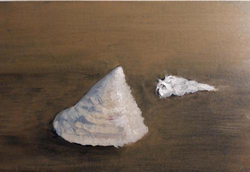Witte schelpen, olieverf op mus paneel, 15 x10 cm,  2020, € 95,00