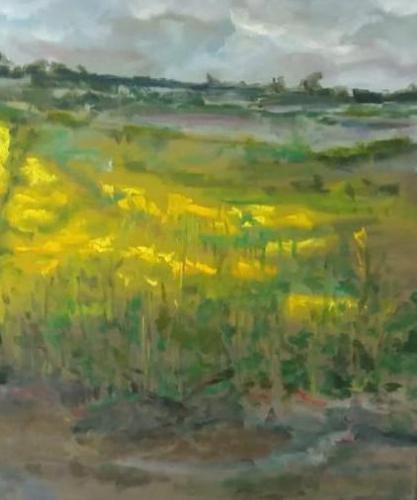 Koolzaadvelden, olieverf op canvas, 50 x 60 cm, 2020, €450,00