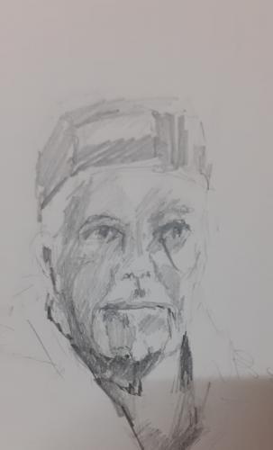 Marinus met pet, potlood op papier, 15 x 20 cm, 2020, verkocht
